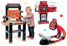 SMOBY 360701-17 detská pracovná dielňa s vŕtačkou Black+Decker a elektronický trenažér Vtwin Biker so zvukom a svetlom