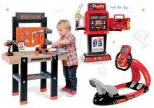Set pracovná dielňa Black+Decker Smoby s vŕtačkou a elektronický trenažér Autá V8 Driver a benzínová pumpa