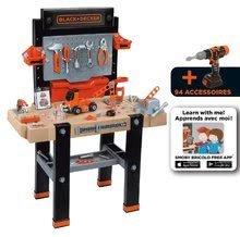 Dětská dílna sety - Set pracovní dílna Black&Decker Smoby elektronická a úklidový vozík s elektronickým vysavačem_11