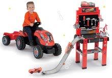 Set atelier pentru asamblări cu rampă de lansare Maşini 3 Smoby și tractor cu pedale cu remorcă