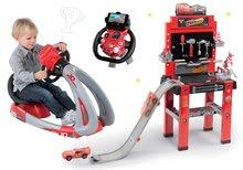 Set pracovní dílna se skákající rampou Cars 3 Smoby a trenažér V8 Driver elektronický