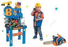 Set radni stol Bricolo Center Bob the Builder Smoby so žeriavom+motorová píla a pracovné oblečenie SM360715-2