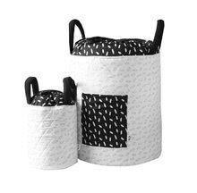 Košík na hračky Listy Bamboo toT's smarTrike Black&White textilný, bambusový hodváb a satén 45*40 cm