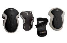 Echipament de protecţie pentru copii Safety Gear set Black M smarTrike pentru genunchi şi încheieturi, din plastic ergonomic negru de la 9 ani