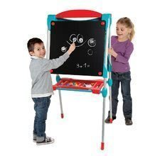 Tabule a lavice sety - Set školská tabuľa na hranie Smoby obojstranná magnetická s 59 doplnkami a taburetka KidStool modrá_1