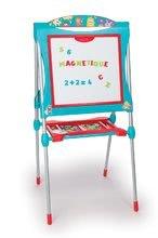 Tabule a lavice sety - Set školská tabuľa na hranie Smoby obojstranná magnetická s 59 doplnkami a taburetka KidStool modrá_10