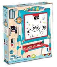 Tabule a lavice sety - Set školská tabuľa na hranie Smoby obojstranná magnetická s 59 doplnkami a taburetka KidStool modrá_27