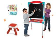 Tabule a lavice sety - Set školská tabuľa na hranie Smoby obojstranná magnetická s 59 doplnkami a taburetka KidStool modrá_32
