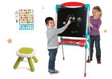 Tabule a lavice sety - Set školská tabuľa na hranie Smoby obojstranná magnetická s 59 doplnkami a taburetka KidStool modrá_33