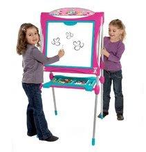 Tablă magnetică pentru desenat Smoby roz 125 cm cu raft înalt şi cu 128 de accesorii