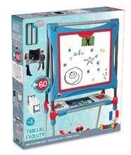 Tablă magnetică pentru  învăţat și desenat Smoby cu două feţe, reglabilă, cu depozit şi cu 80 de accesorii albastru