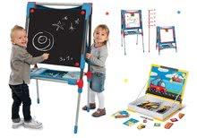 Set školní magnetická tabule Smoby výškově nastavitelná a kniha Vehicles Magneti'Book 50 magnetů