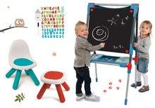 Set školní magnetická tabule Smoby výškově nastavitelná s 80 doplňky a židle KidChair a taburetka Kidstool 2v1
