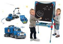 Set školní magnetická tabule Smoby výškově nastavitelná s 80 doplňky a kamion Bob Two Tons Truck