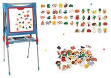 Set školní magnetická tabule Smoby výškově nastavitelná a dřevěné magnetky 48 ks
