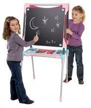 Školní tabule na hraní magnetická Smoby oboustranná, polohovatelná se skříňkou a 60 doplňky růžová