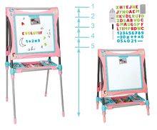Tablă magnetică pentru desenat Smoby reglabilă în înălţime 80-125 cm roz, cu raft şi 128 accesorii