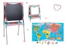 Set školní magnetická tabule Smoby výškově nastavitelná a mapa světa Magnetic World Puzzle English