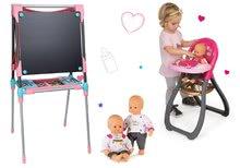 Set školní magnetická tabule Smoby výškově nastavitelná, s 80 doplňky a jídelní židle a panenka Baby Nurse