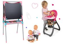 Set školská magnetická tabuľa Smoby výškovo nastaviteľná, s 80 doplnkami a jedálenská stolička a bábika Baby Nurse