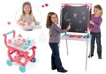Tabule a lavice sety - Školská magnetická tabuľa Smoby obojstranná s 80 doplnkami a servírovací vozík Princezné_20