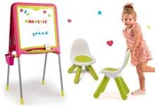 Set školská tabuľa magnetická obojstranná Smoby s 80 doplnkami a dve stoličky KidChair zelené