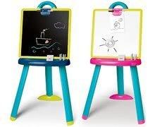 Tablă de învăţat cu două feţe Activity Smoby 2-in1 magnetică cu marker şi cu cretă+7 accesorii albastru/roz