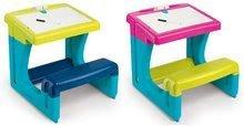 Školská lavica s odkladacím priestorom Activity Smoby a obojstrannou tabuľou+8 doplnkov modrá/ružová 55*58*54 cm SM420100