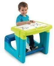 Školská lavica s odkladacím priestorom Activity Smoby a obojstrannou tabuľou+8 doplnkov modrá 55*58*54 cm SM420101