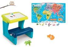 Szett gyermek iskolapad tárolóhellyel és kétoldalú táblával Activity Smoby és mágneses világtérkép