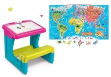 Set lavica s odkladacím priestorom a obojstrannou tabuľou Activity Smoby a magnetická mapa sveta