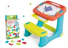 Set lavica na kreslenie Magic Desk Smoby Kresli a zmaž modrá a magnetická abeceda a čísla 72 kusů