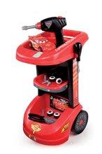 Detský pracovný vozík Autá Smoby s autom McQueen, mechanickou vŕtačkou a 15 doplnkami