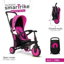Tricikli összecsukható és lehajtható smarTfold 6in1 smarTrike 300 Plus TouchSteering kompakt EVA kerekekkel rózsaszín 10 hó-tól