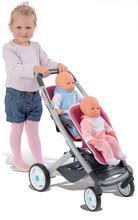 Kočíky od 18 mesiacov - Kočík pre dve bábiky Maxi Cosi & Quinny Twin Smoby (65,5 cm rúčka) ružovo-šedý_0