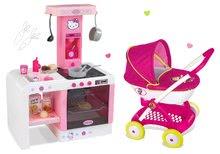 SMOBY 523134-4 hlboký kočík Hello Kitty pre bábiku (55 cm rúčka)+elektronická kuchynka Cheftronic so zvukmi