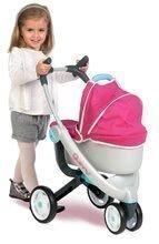 Kočík pre bábiku 3-kolesový Maxi Cosi & Quinny Smoby (70 cm rúčka) hlboký ružovo-modrý