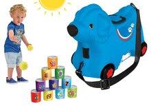 Odrážadlo kufor na kolieskach Pes Bobby BIG modrý+športová hra Plechovková pyramída BIG55352-1