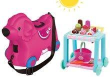 Bébitaxi bőrönd kerekeken Kutya Bobby BIG rózsaszín+fagylaltos kocsi Délices kosárral