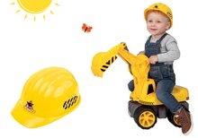 Bagr pro děti Maxi Power BIG se sedadlem žlutý a pracovní přilba Power Worker