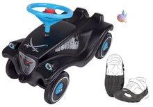 Set hraček odrážedlo Bobby Classic Sansibar BIG černé se zvukem a ochranné návleky na boty od 12 měsíců
