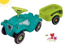 Set odrážedlo autíčko Little Star BIG Bobby Car Classic tyrkysové a přívěsný vozík od 12 měsíců