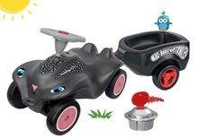 Set babytaxiu maşinuţă Panther BIG New Bobby Car negru şi remorcă cu starter de la 12 luni