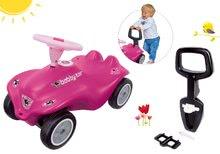 Szett bébitaxi autó Rockstar New Bobby Car BIG rózsaszín és háttámasz és járássegítő kapaszkodó 12 hó-tól