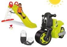 Odrážadlo motorka Racing Bike zelené+ochranné návleky+šmykľavka Toboggan Funny s vodou dĺžka 200 cm BIG56328-5