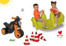 Set babytaxiu motocicletă Sport Bike BIG cu claxon electronic, balansoar Focă şi conuri indicatoare de la 18 luni