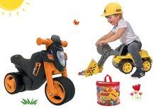 Set babytaxiu motocicletă Sport Bike BIG cu claxon electronic, încărcător frontal Power Worker, scaun şi cuburi de construit de la 18 luni