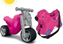 Odrážadlo motorka Girl Bike BIG ružovo-šedé+kufor na kolieskach Pes Bobby BIG56362-2