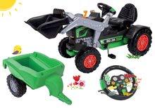 Set šlapací traktor nakladač BIG Jim Turbo s interaktivním volantem a s přívěsem
