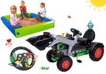 Szett pedálos traktor homlokrakodóval BIG Jim Turbo interaktív kormánnyal és homokozó